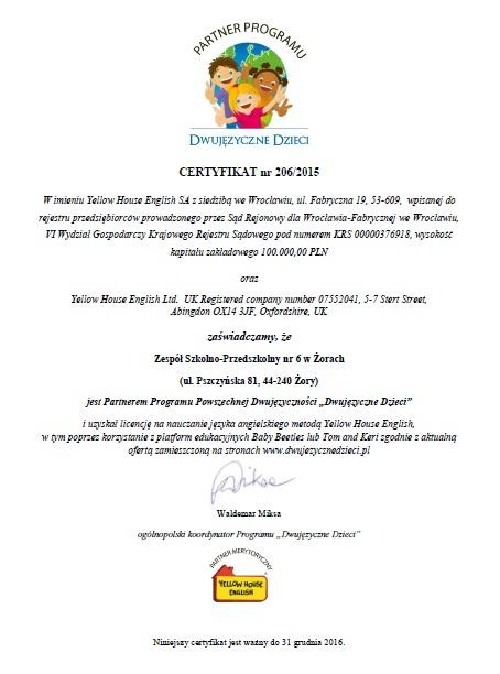 """Certyfikat """"Dwujęzyczne Dzieci"""""""
