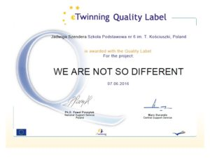 eTwinning Quality Label We are not so different